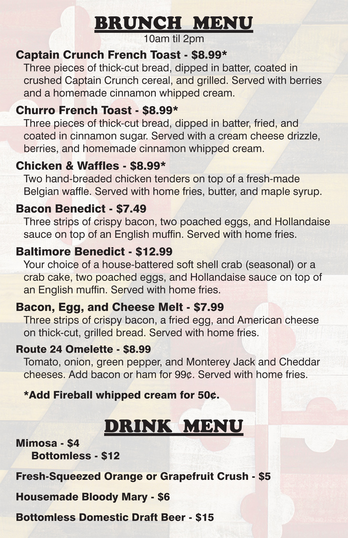Eat Brunch at Route 24 Ale House from 10am - 2pm on Sundays