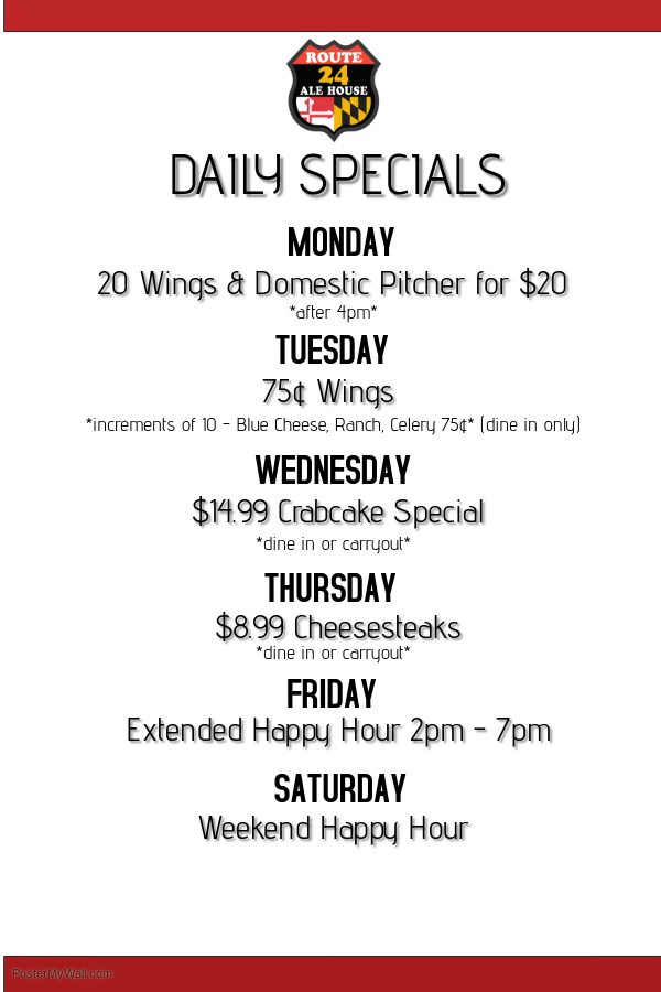 Daily Specials at Route 24 Ale House