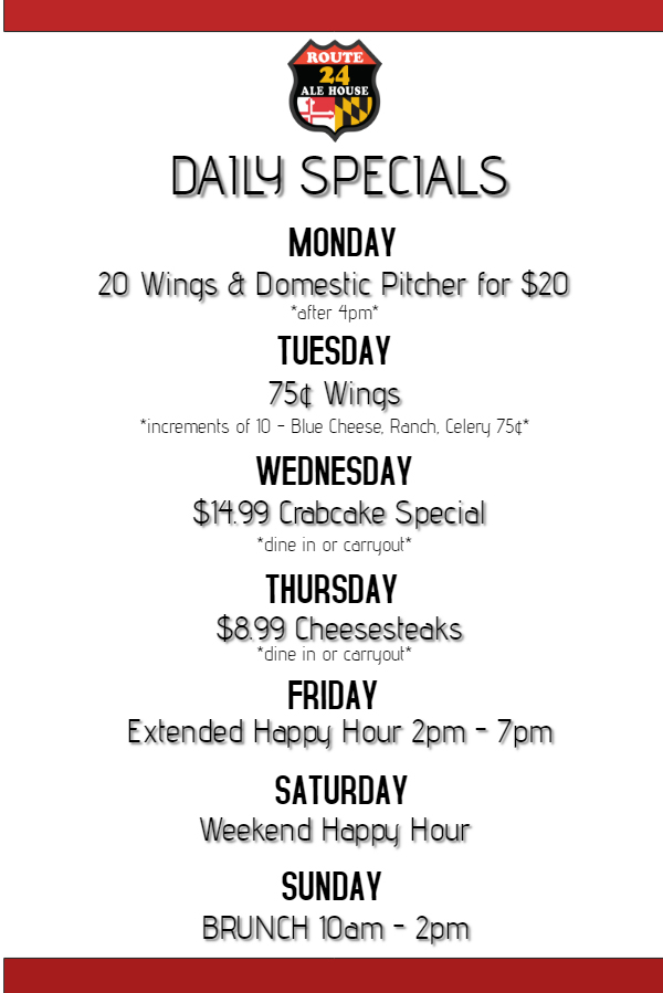 Route 24 Ale House Daily Specials