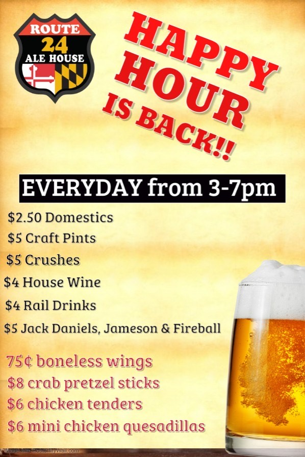 Happy Hour at Route 24 Ale House is Back!