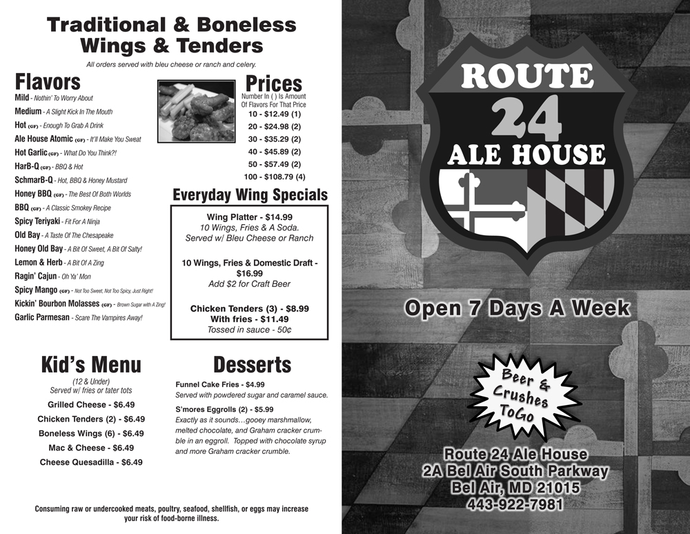 Route 24 Ale House Temporary Take-Out Menu 2020