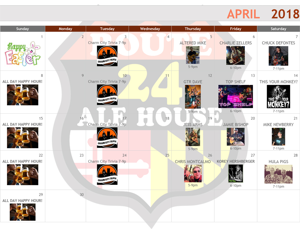 april 2018 events calendar route 24 ale house