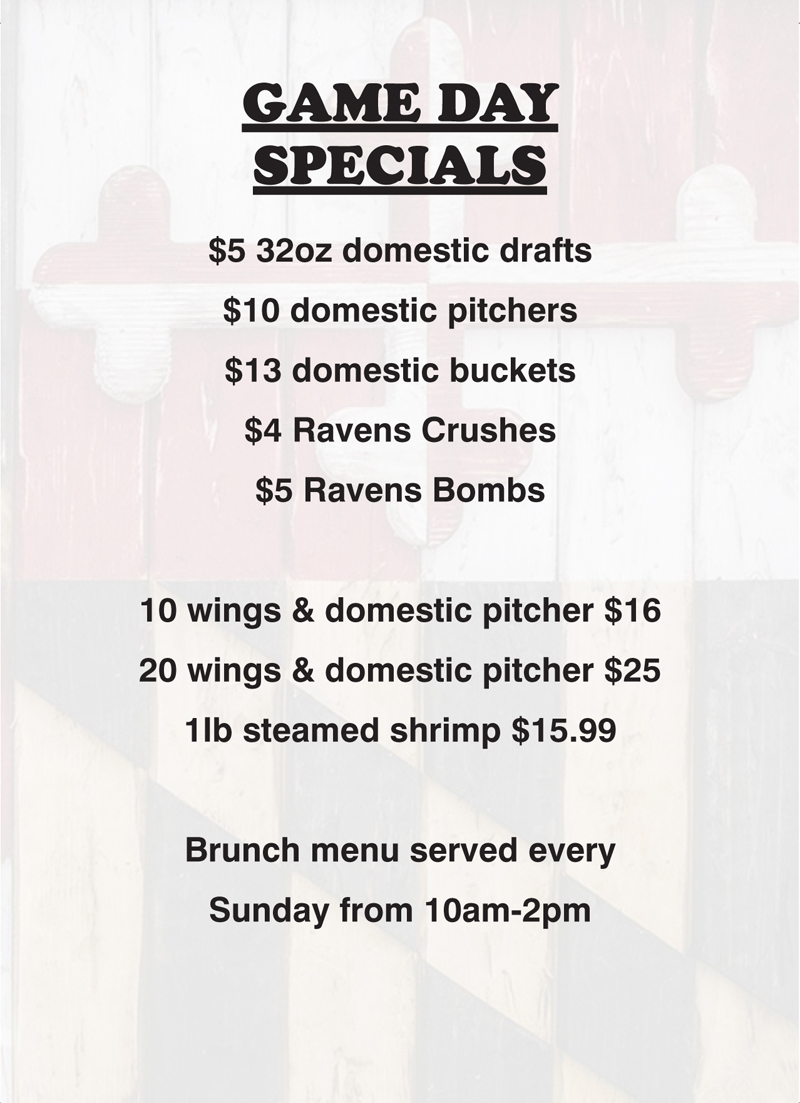 Route 24 Ale House Game Day Specials