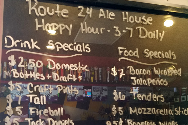 Route 24 Ale House Happy Hour Specials