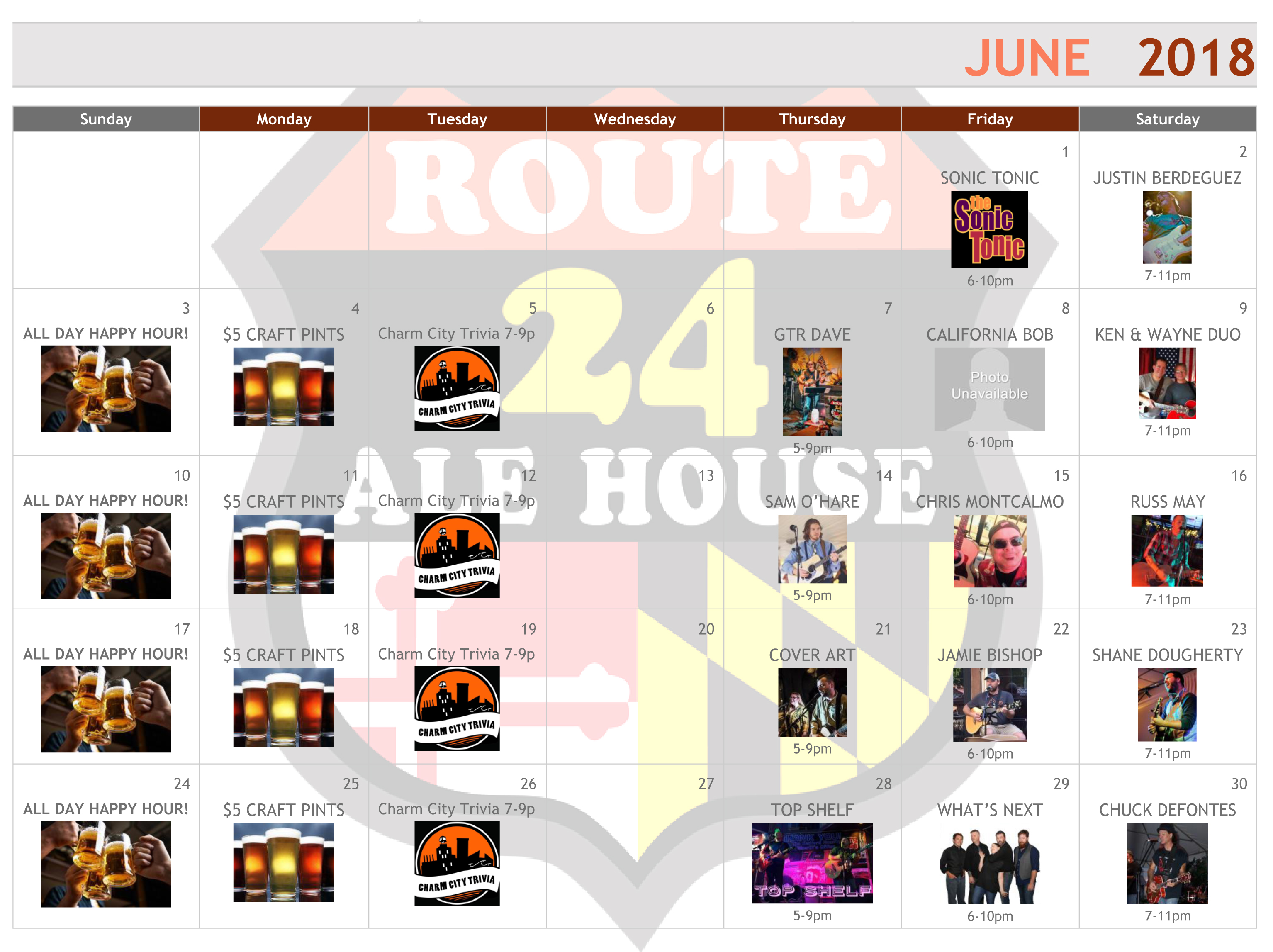 Route 24 Ale House June 2018 Events