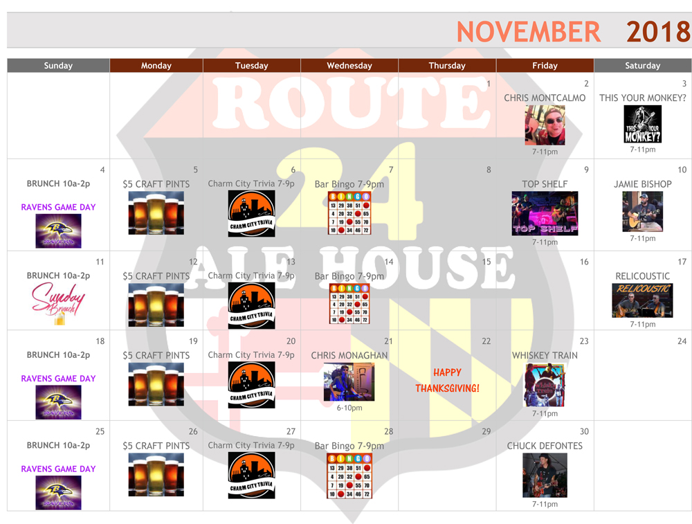 Route 24 Ale House November 2018 Events